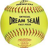 "Worth 12"" ASA Dream Seam PL Fastpitch Softballs EA"