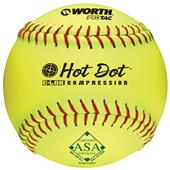 "Worth 12"" ASA Hot Dot ProTac Slowpitch Softballs"