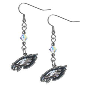 Silver Moon NFL Eagles Long Dangle Earrings
