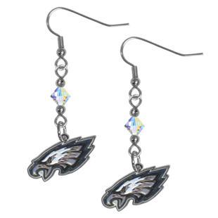 Silver Moon NFL Eagles Long Dangle Earrings