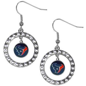 Silver Moon NFL Houston Texans CZ Earrings