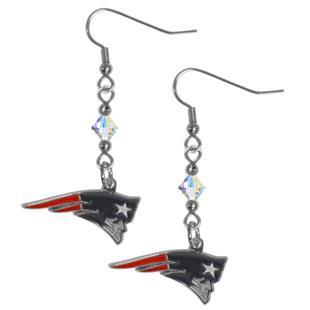 Silver Moon NFL Patriots Long Dangle Earrings