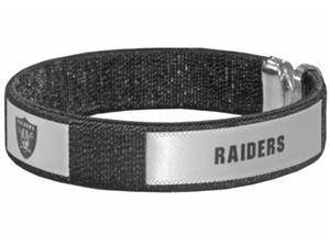 Silver Moon Oakland Raiders Woven Cuff Bracelet