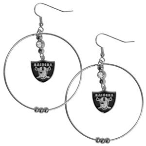Silver Moon NFL Oakland Raiders Hoop Earrings