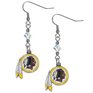 Silver Moon NFL Redskins Long Dangle Earrings