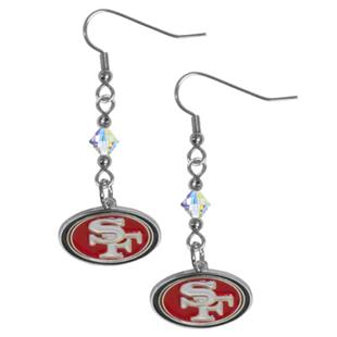 Silver Moon NFL 49ers Long Dangle Earrings