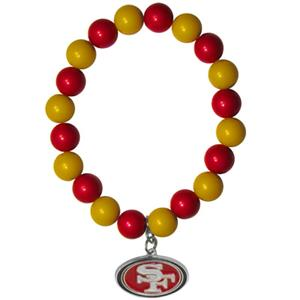 Silver Moon NFL San Francisco 49ers Bead Bracelet