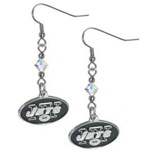 Silver Moon NFL New York Jets Long Dangle Earrings