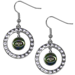Silver Moon NFL New York Jets CZ Earrings