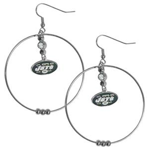 Silver Moon NFL New York Jets Hoop Earrings