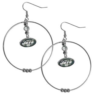 Silver Moon NFL New York Jets Hoop Earrings