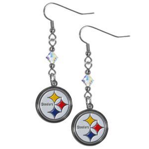 Silver Moon NFL Steelers Long Dangle Earrings