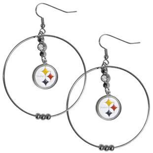 Silver Moon NFL Pittsburgh Steelers Hoop Earrings