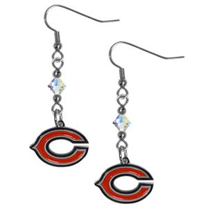 Silver Moon NFL Chicago Bears Long Dangle Earrings