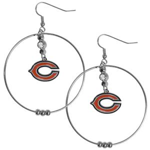 Silver Moon NFL Chicago Bears Hoop Earrings