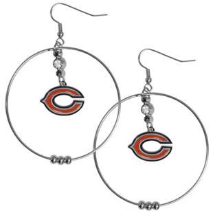 Silver Moon NFL Chicago Bears Hoop Earrings