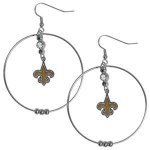 Silver Moon NFL New Orleans Saints Hoop Earrings