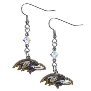 Silver Moon Baltimore Ravens Long Dangle Earrings