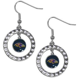 Silver Moon NFL Baltimore Ravens CZ Earrings