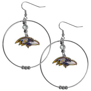 Silver Moon NFL Baltimore Ravens Hoop Earrings