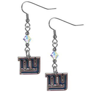 Silver Moon New York Giants Long Dangle Earrings