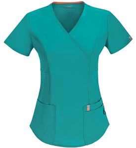 Code Happy Womens Bliss Mock Wrap Scrub Tops