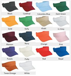 Adjustable Adult or Youth Cotton Visors 18 Colors