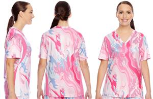 Team 365 Ladies Short-Sleeve V-Neck Swirl Jersey