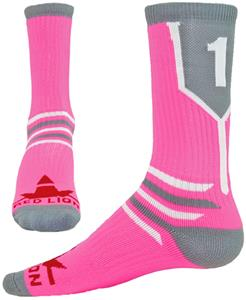 "Red Lion ""Prime Numbers"" Flor Pink/Grey Crew Socks"