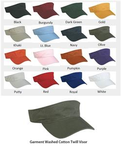 Adjustable Garment Washed Twill Visors 16 Colors