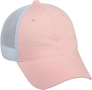 Pink Garment Wash Cotton Mesh Back Womens Cap