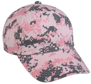 Pink Digital Camo Wash Cotton Womens Caps