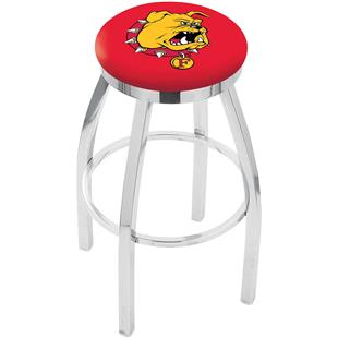 Ferris State Chrome Swivel Bar Stool w/Accent Ring