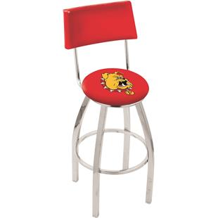 Ferris State Chrome Swivel Bar Stool with Back