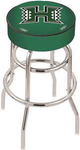 Univ of Hawaii Double-Ring Chrome Swivel Bar Stool