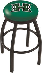 Univ. Hawaii Black Swivel Bar Stool w/Accent Ring