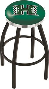 Univ. Hawaii Black Swivel Bar Stool w/Chrome Ring