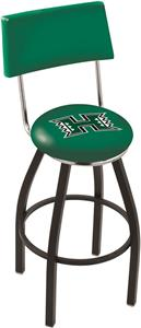 Univ. Hawaii Black Wrinkle Swivel Bar Stool w/Back