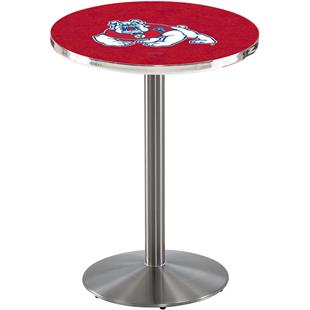 Fresno State Stainless Steel Round Base Pub Table