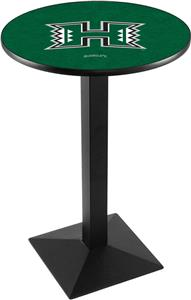 Univ of Hawaii Black Wrinkle Square Base Pub Table