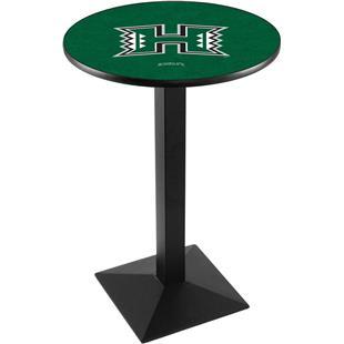 Univ of Hawaii Black Wrinkle Square Base Pub Table