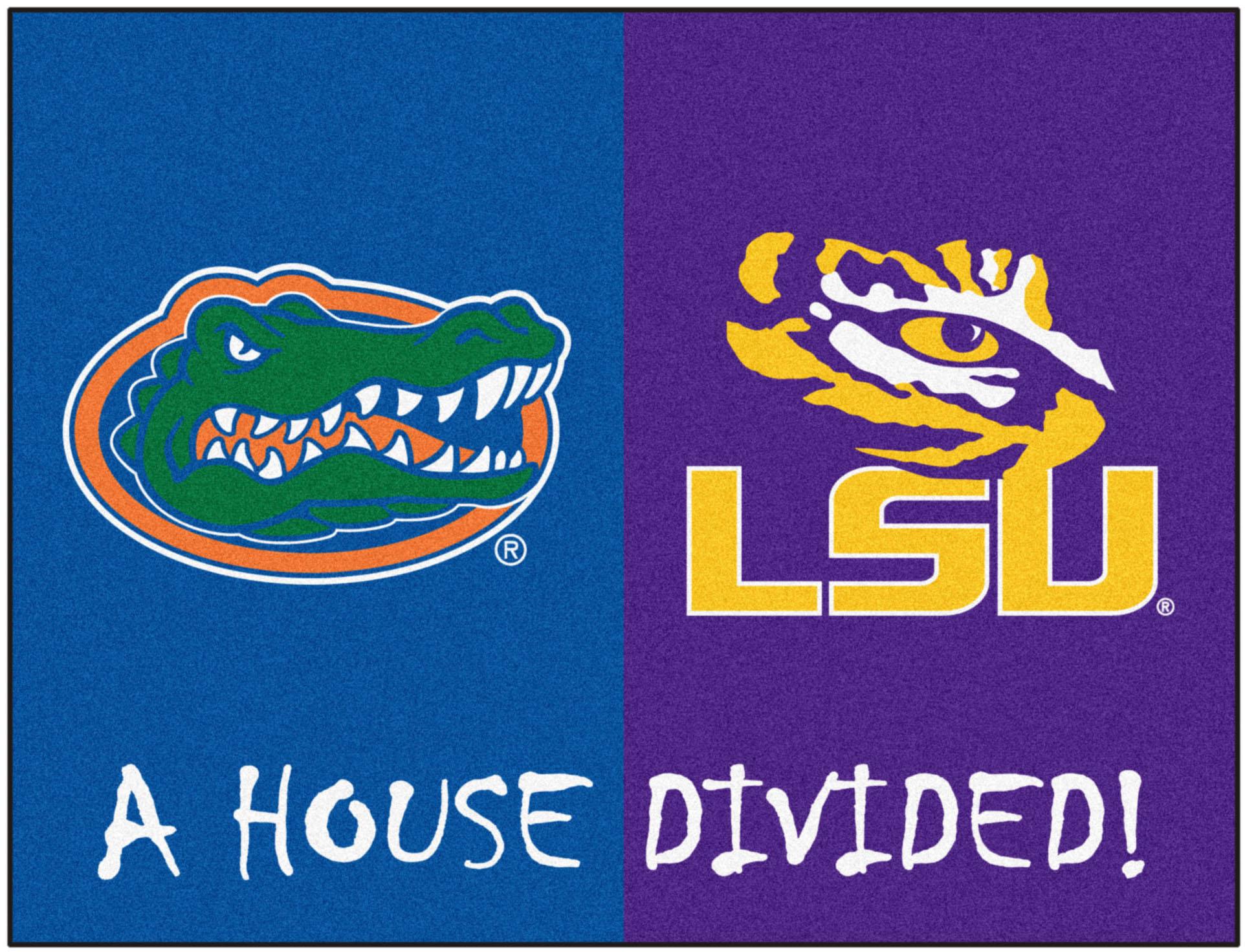 E104927 Fan Mats Ncaa Florida Lsu House Divided Mat