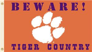College Clemson Beware of Tiger Country 3'x5' Flag