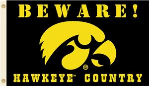 College Iowa Beware Hawkeye Country 3'x5' Flag