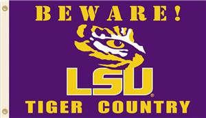College LSU Beware Tiger Country 3'x5' Flag