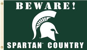 College Michigan State Beware Spartan Country Flag
