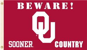 College Oklahoma Beware Sooner Country 3'x5' Flag