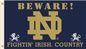College ND Beware Fighting Irish Country Flag