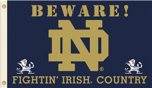 College ND Beware Fighting Irish Country Flag