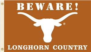 College Texas Beware Longhorn Country 3'x5' Flag